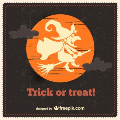 Witch on The Moon Silhouette of Halloween Free Vector