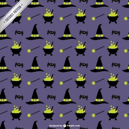 Witch Supplies Halloween Pattern Free Vector