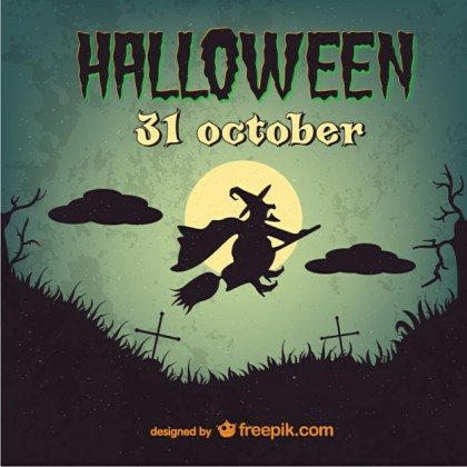 Witch Vintage Halloween Template Free Vector