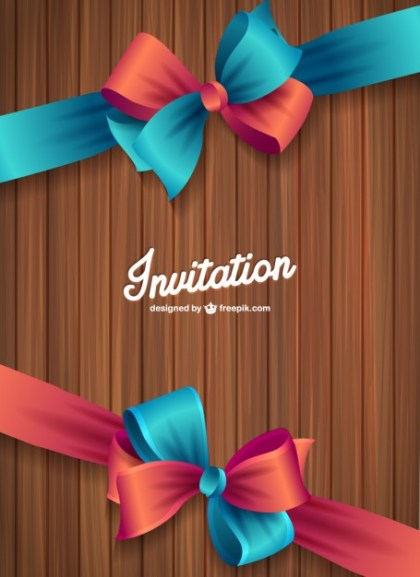 Wood Texture Invitation Free Vector