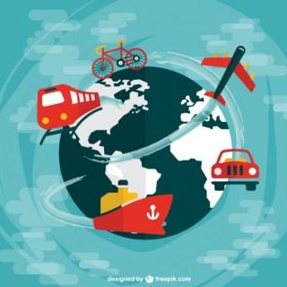 Worldwide Travel Flat Design Free Vector