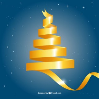 Yellow Lace Christmas Tree Free Vector