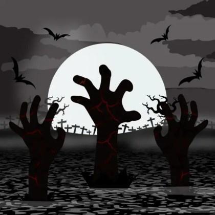 Zombie Hands Rise in Halloween Free Vector