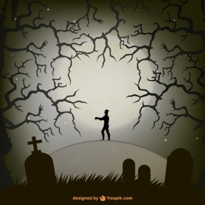 Zombie in A Graveyard in Halloween Night Illustration Free Vector