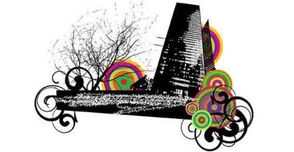 urban city with swirl ornament