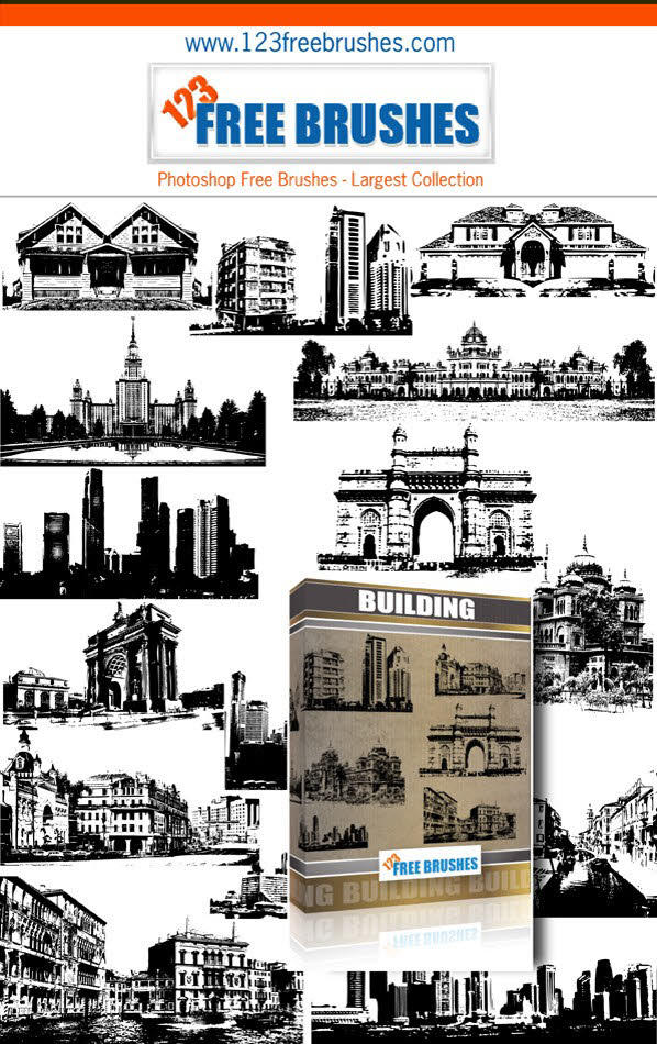 Buildings Free Vector and Photoshop Brushes Pack