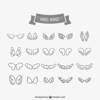 Angel Wings Doodles Collection Free Vectors