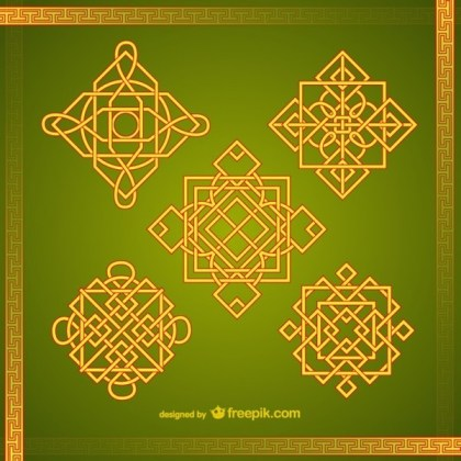 Asian Ornaments Pack Free Vectors