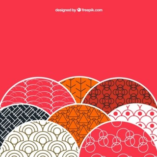 Background with Patterns In Japanese Style Free Vectors