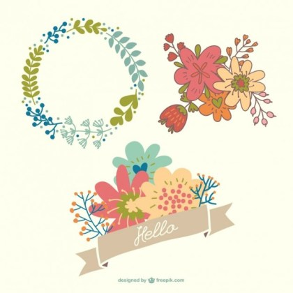Beautiful Floral Ornaments Collection Free Vectors