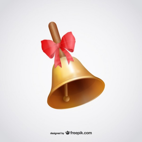 Bell with Red Ribbon Illustration Free Vectors
