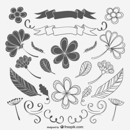 Black and White Drawings Pack Free Vectors
