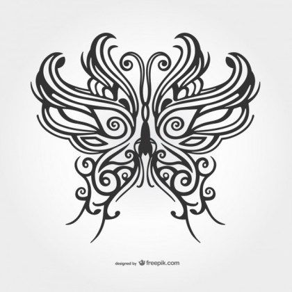 Black Butterfly Tattoo Vector Free Vectors