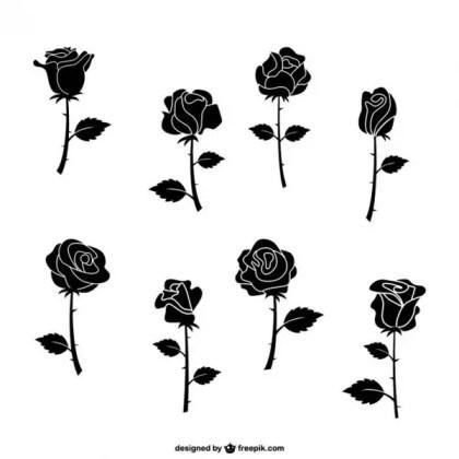 Black Roses Pack Free Vectors