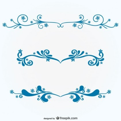 Blue Floral Ornaments Free Vectors