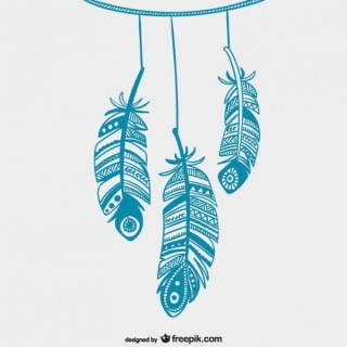 Blue Hanging Feathers Free Vectors