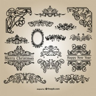Calligraphic Christmas Ornaments Free Vectors
