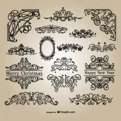 Calligraphic Christmas Ornaments Free Vectors