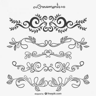 Calligraphic Floral Ornaments Free Vectors