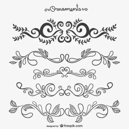 Calligraphic Floral Ornaments Free Vectors