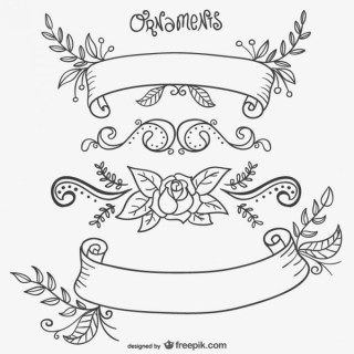 Calligraphic Flower with Ornaments Free Vectors