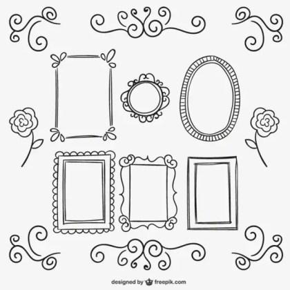 Calligraphic Frames and Ornaments Free Vectors