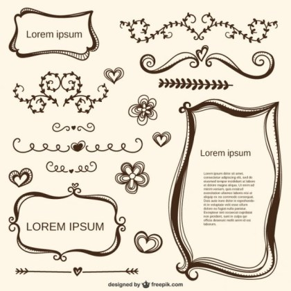 Calligraphic Love Ornaments and Frames Free Vectors