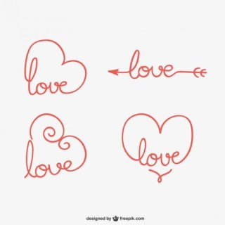 Calligraphic Love Ornaments Free Vectors
