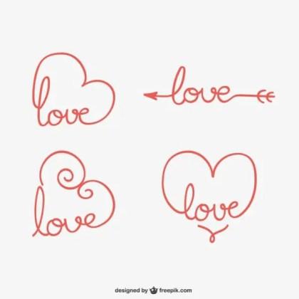 Calligraphic Love Ornaments Free Vectors
