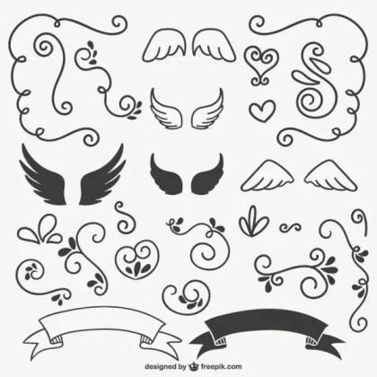 Calligraphic Ornaments Black and White Free Vectors