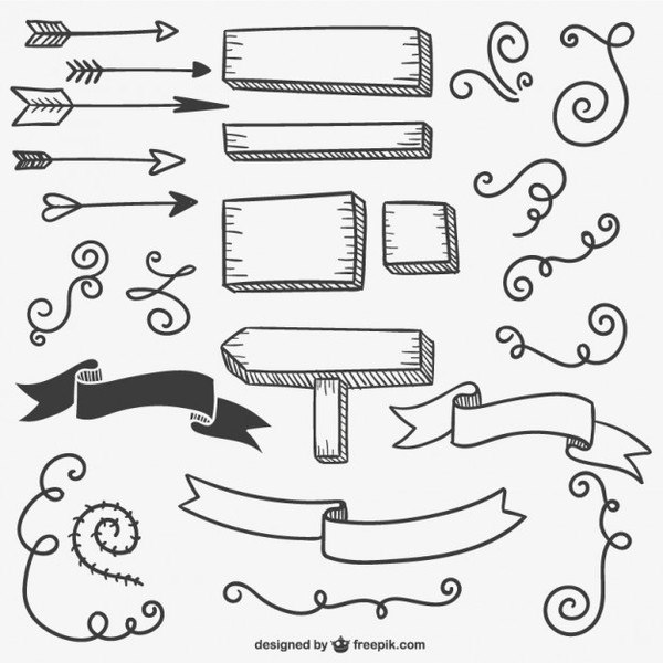 Calligraphic Signs and Arrows Free Vectors