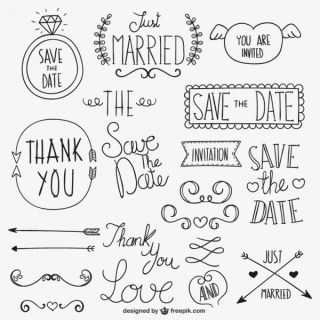 Calligraphic Wedding Ornaments Free Vectors