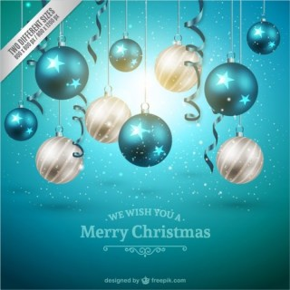 Christmas Background with White and Blue Baubles Free Vectors