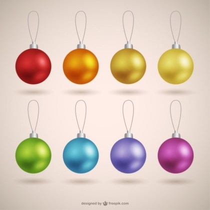 Christmas Baubles Collection Free Vectors
