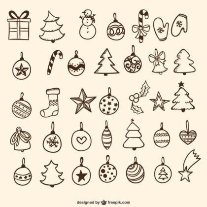 Christmas Baubles Drawings Free Vectors
