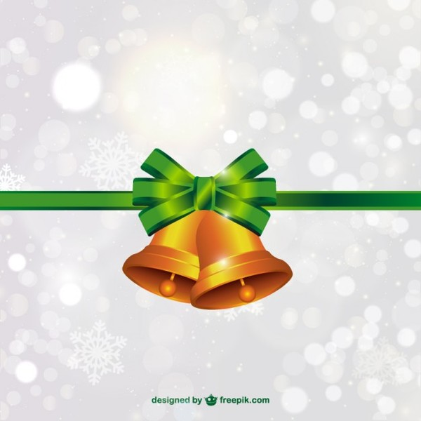 Christmas Bells with Green Bow Vector Free Vectors