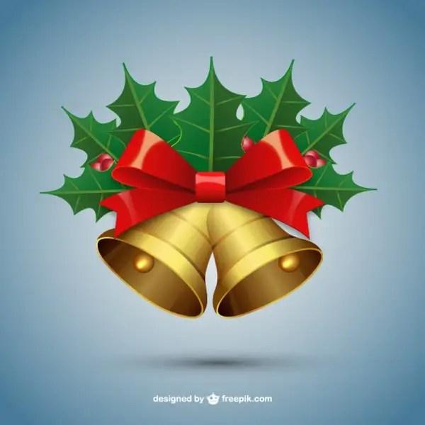 Christmas Bells with Mistletoe Free Vectors