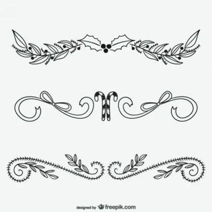 Christmas Calligraphic Ornaments Free Vectors