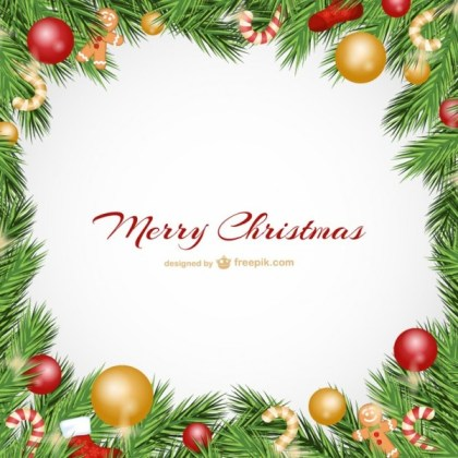 Christmas Card with Baubles Free Vectors