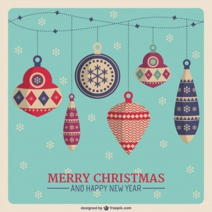 Christmas Card with Vintage Style Baubles Free Vectors