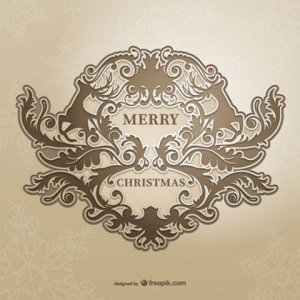 Christmas Card with Vintage Style Floral Ornaments Free Vectors
