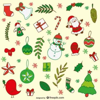 Christmas Cartoon Decoration Free Vectors