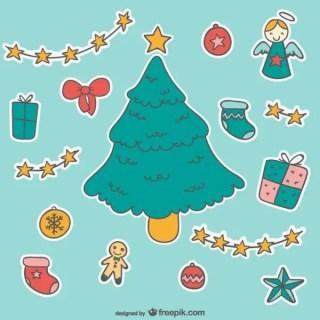 Christmas Cartoon Stickers Free Vectors
