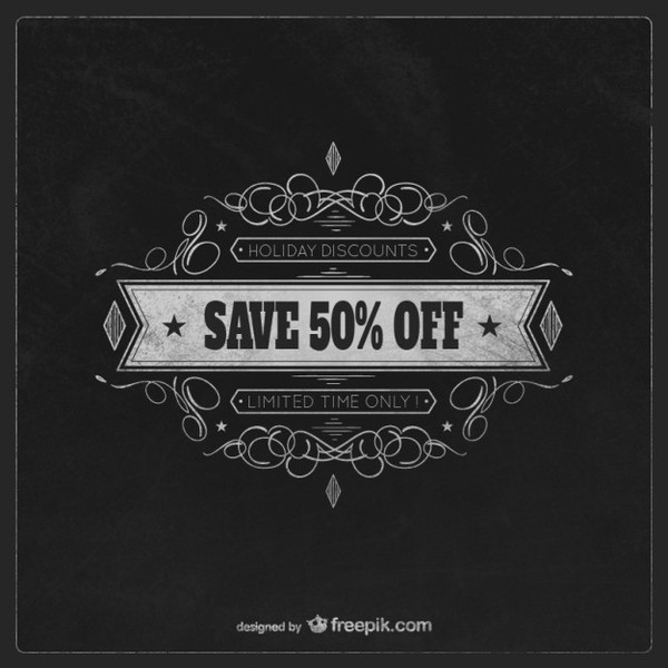Christmas Chalkboard Discount Free Vectors
