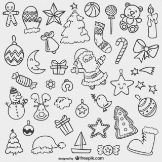 Christmas Doodles Pack Free Vectors