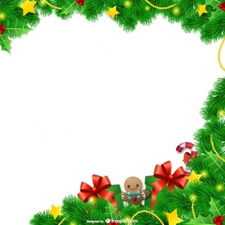 Christmas Frame with Leaves Free Vectors