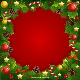Christmas Frame with Mistletoe Free Vectors