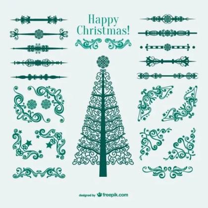 Christmas Ornaments, Borders and Corners Free Vectors