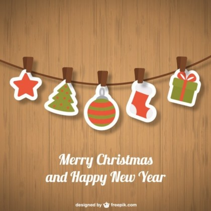 Christmas Ornaments On Wooden Background Free Vectors