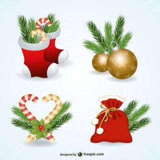 Christmas Ornaments Pack Free Vectors